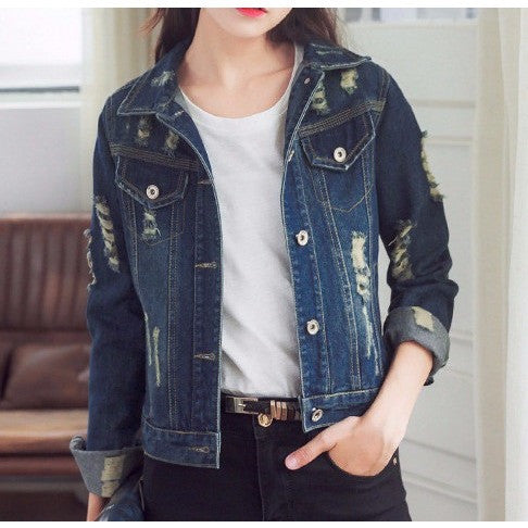 Distressed Ripped Denim Jacket