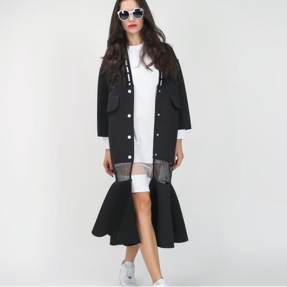 Grid Mesh Spliced Fishtail Long Trenchcoat