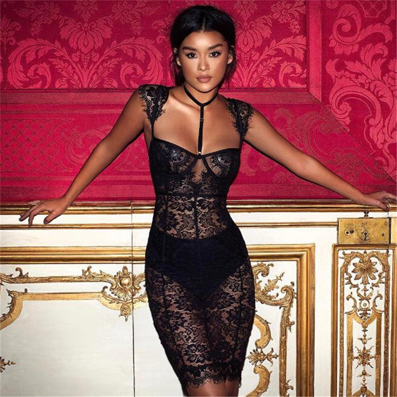 Sexy Black Lace Party Dress