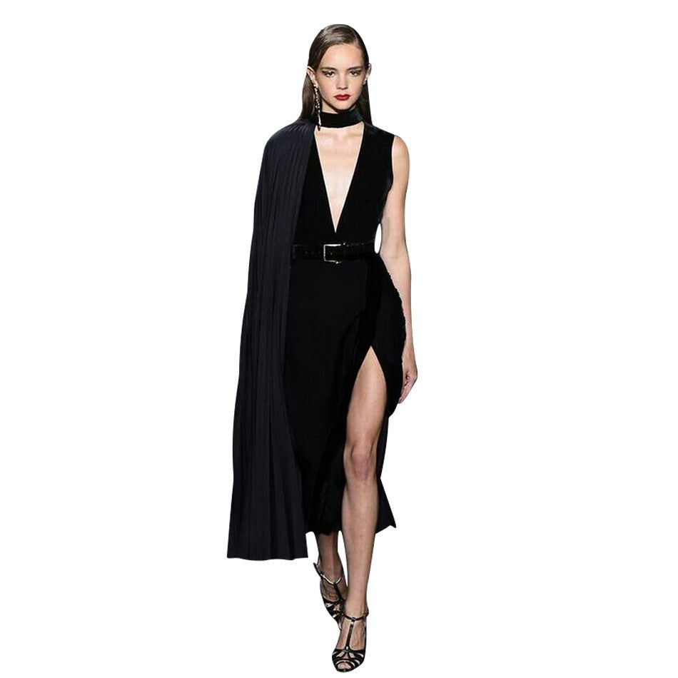 Sexy V-Neck Sleeveless Cape Dress