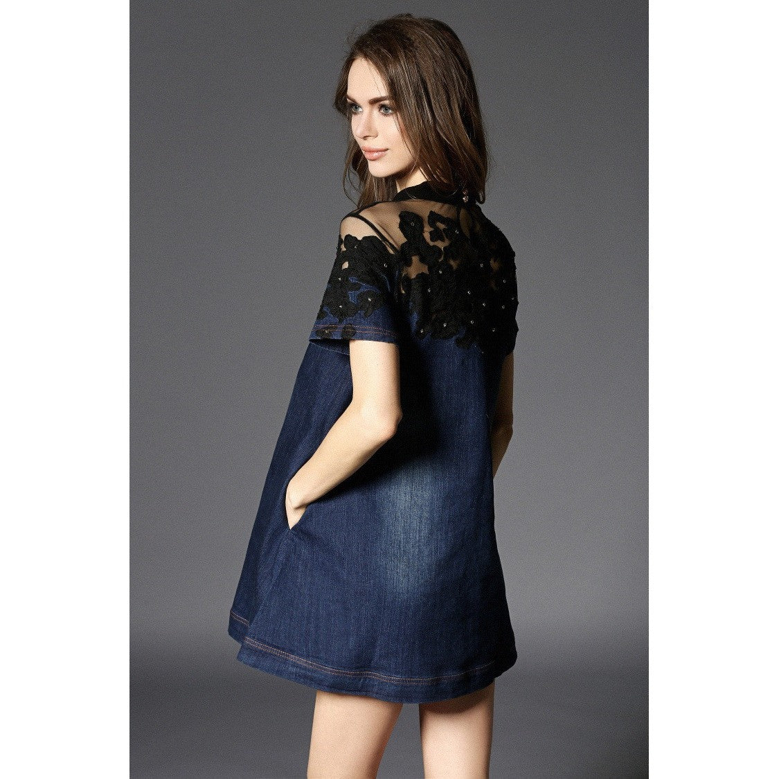 Denim Dress with Mesh Lace