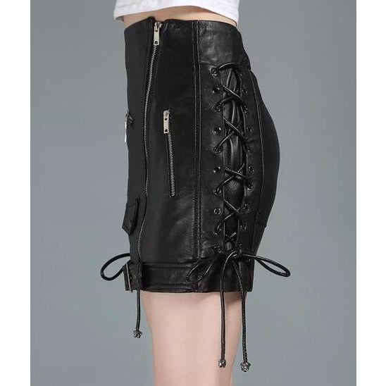 Sheepskin Genuine Leather Moto Skirt
