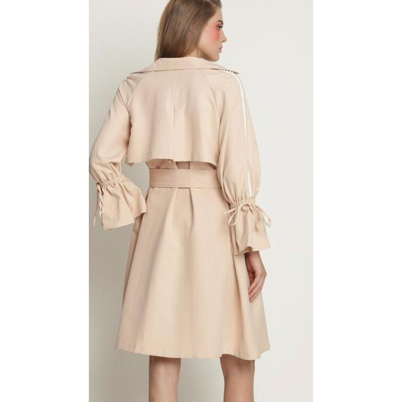 Womens Trenchcoat with Pearl Trim