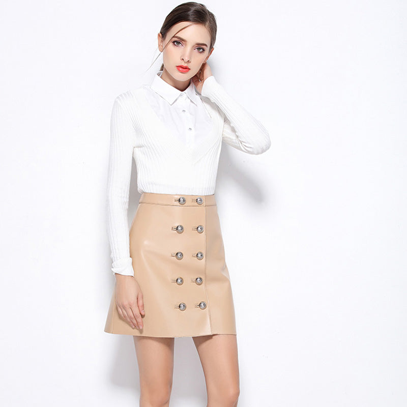 Genuine Leather Button Front Mini Skirt-More Colors