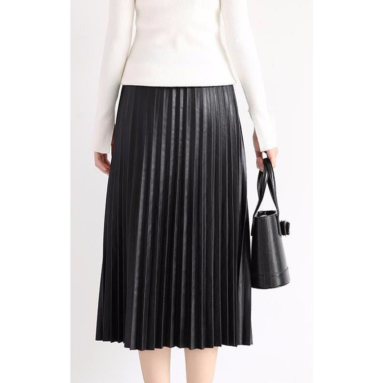 Genuine leather Pleated Midi Skirt