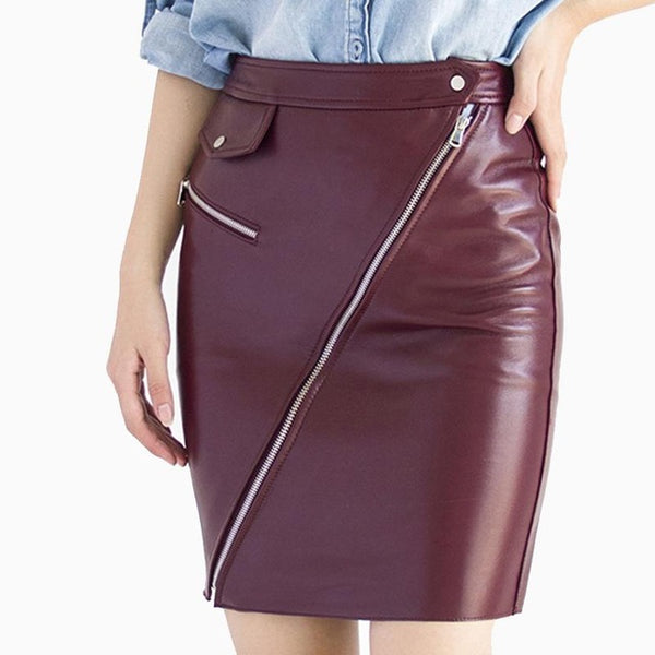 Genuine leather Burgundy Pencil Skirt