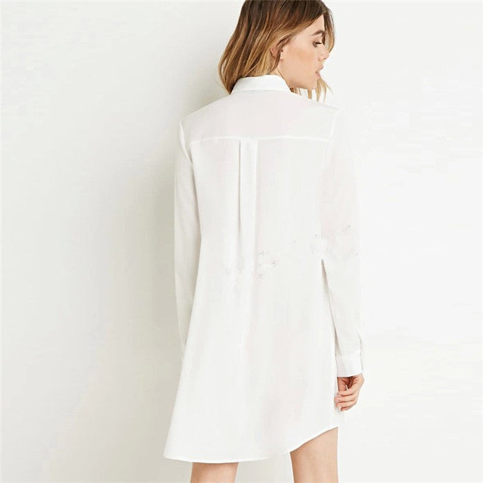 Long Sleeve Mini Shirt Dress-More Colors