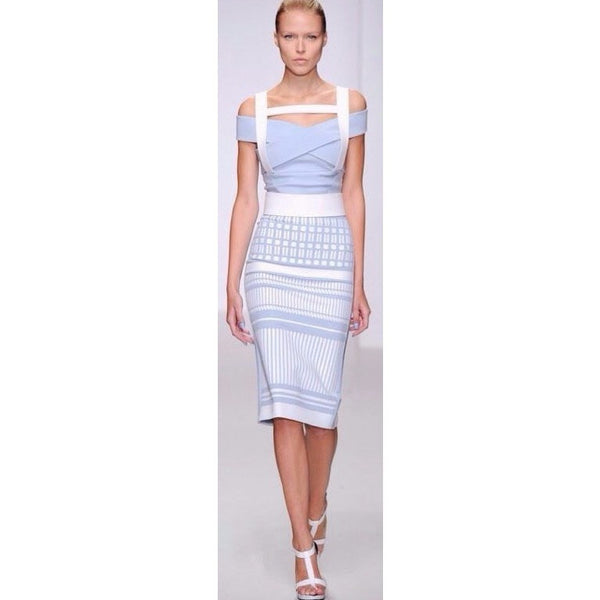 Two Piece Bandage Dress in Jacquard Light Blue
