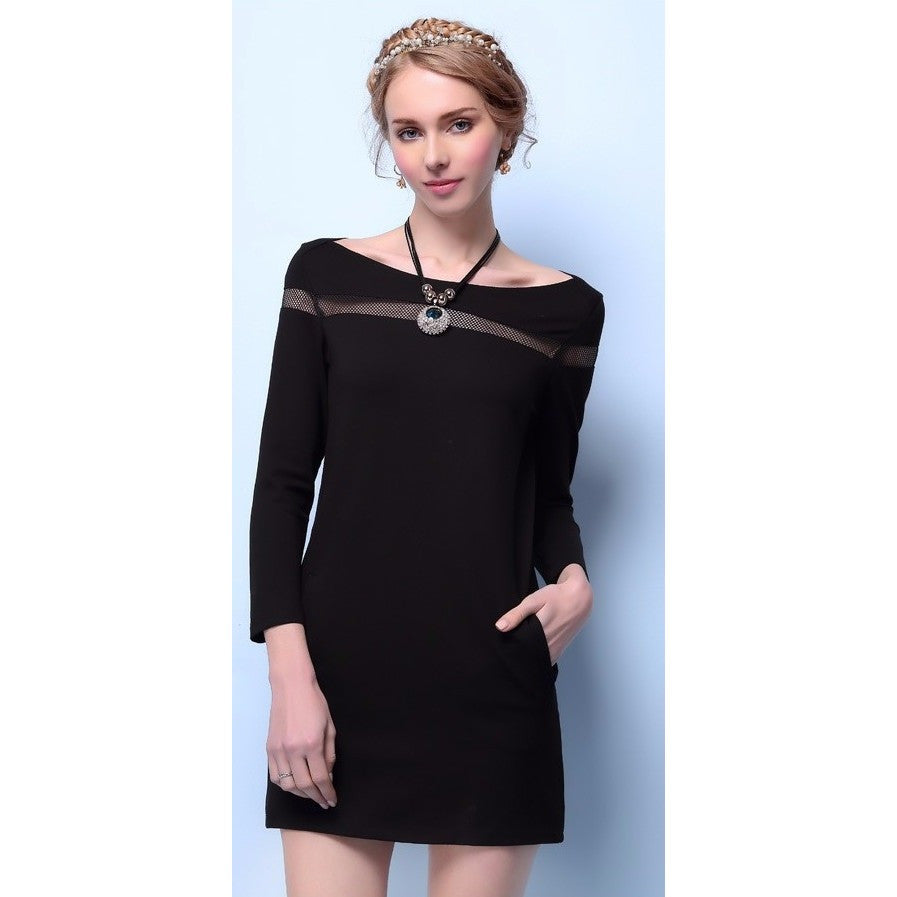 Long Sleeve Cocktail Dress with Mesh