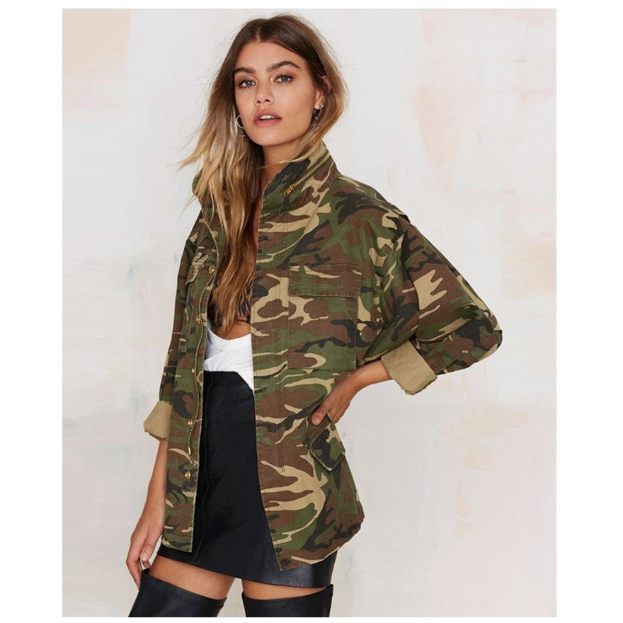 Womens Loose Camouflage Coat Stand Collar