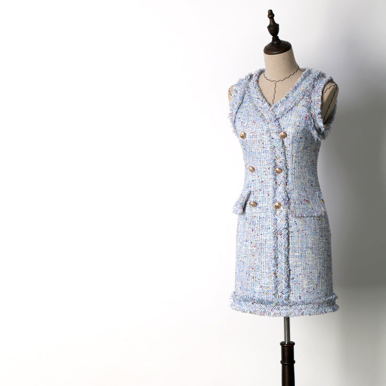 Double Breasted Autumn Blue Tweed Dress