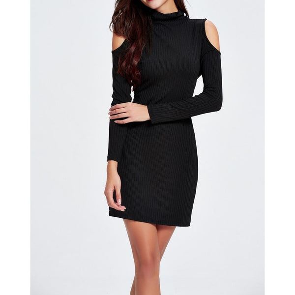 Womens Knit Midi Dress with Open Shoulder