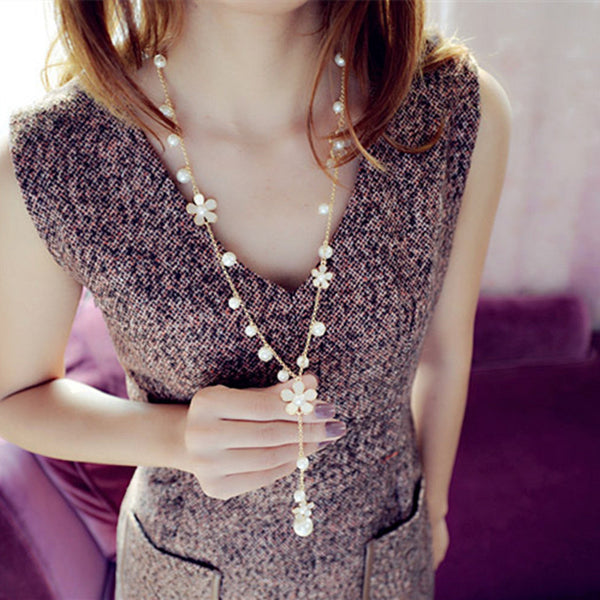 Flower Long Necklace with Pearls