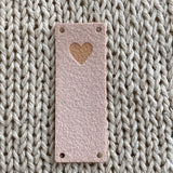 Faux Suede Solid Heart Foldover Tags