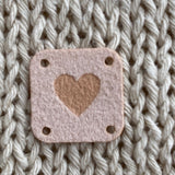 Faux Suede Solid Heart Square Tags