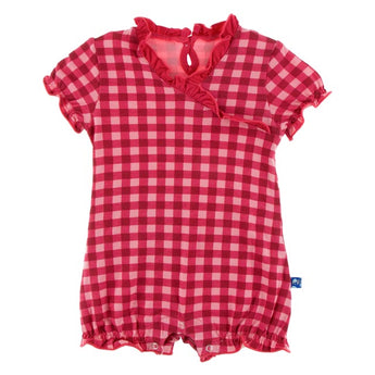 Kickee Pants Flag Red Gingham Ruffle Romper