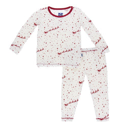 Kickee Pants Crimson Flying Santa Long Sleeve Pajama Set