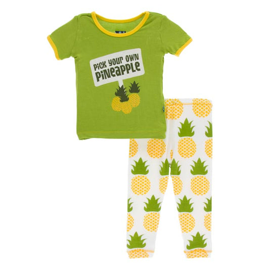Kickee Pants Natural Pineapple Short Sleeve Pajama Set