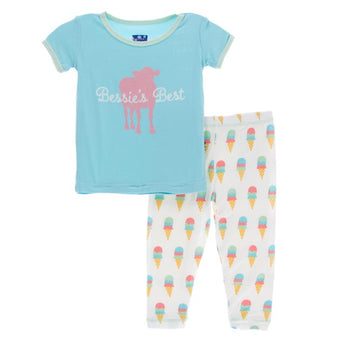 Kickee Pants Natural Ice Cream Short Sleeve Pajama Set