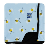 Kickee Pants CUSTOM Print Pond Bees Toddler Blanket with Midnight Trim and Backing