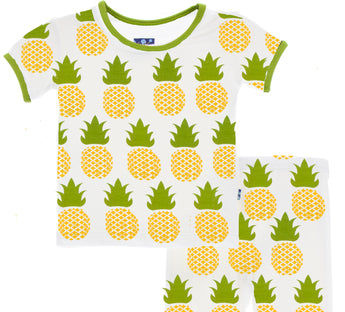 Kickee Pants CUSTOM ALL-Over Natural Pineapple Short Sleeve Pajama Set with SHORTS