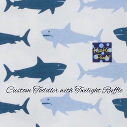 KicKee Pants Custom Toddler Blanket - Natural Megalodon with Twilight Ruffles