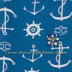 KicKee Pants Custom Toddler Blanket - Twilight Anchor with Natural Ruffles