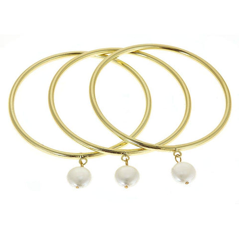 Coin Pearl Bangle (set of 3)