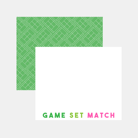 Flat Note Cards- Game Set Match