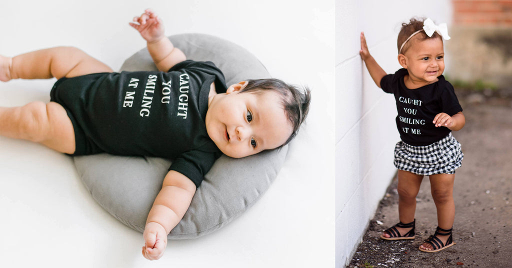 Love Bubby Caught You Smiling at Me Baby Travel Bodysuit Onesie