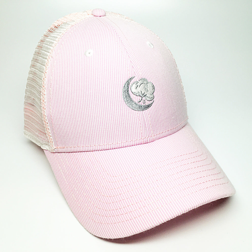 Light Pink and White Seersucker Hat