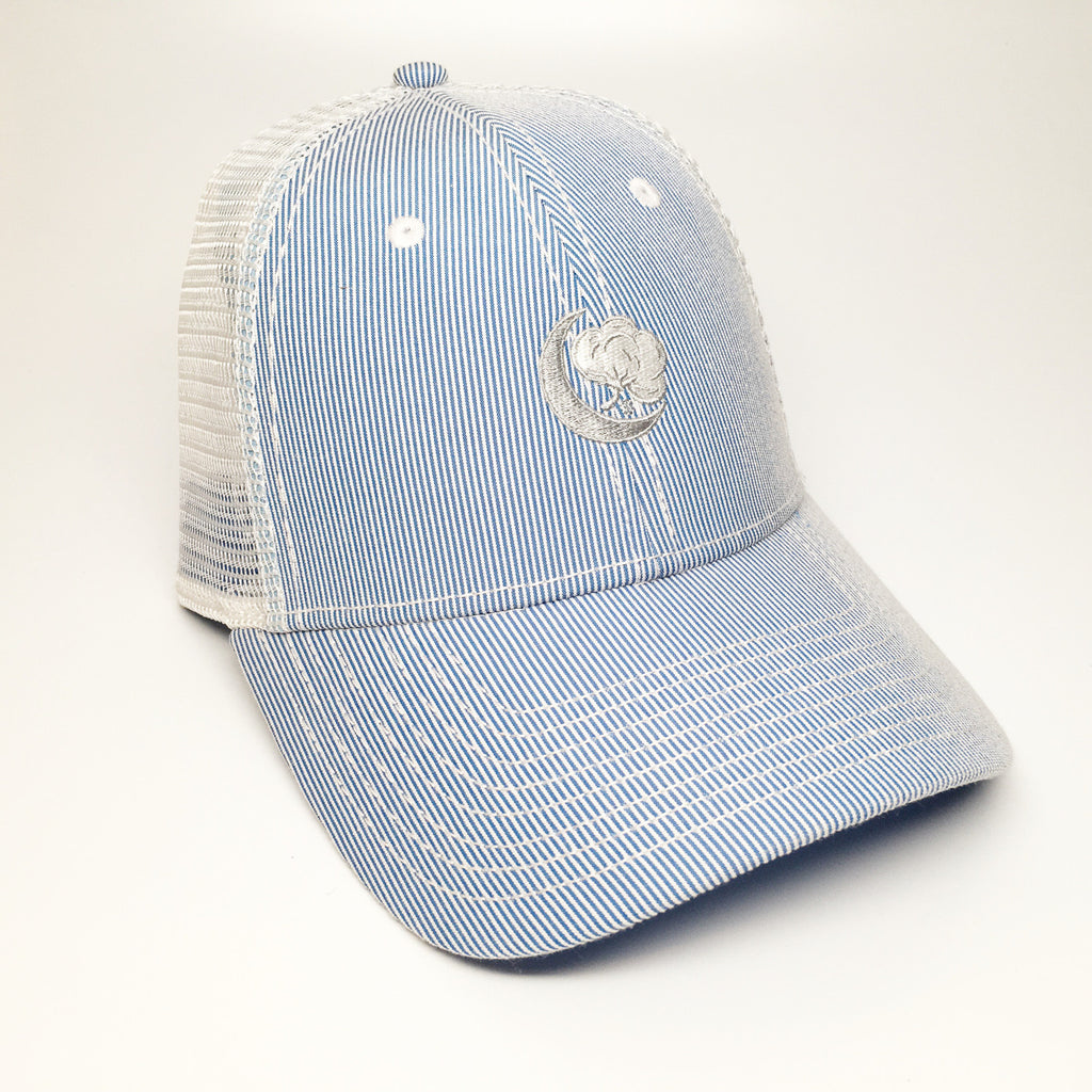 Navy Blue Seer Sucker Hat
