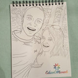 Coloring book made from engagement photos