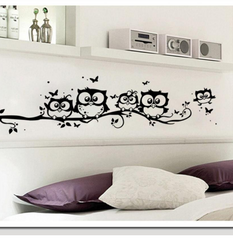 Cartoon Owl Butterfly Wall Sticker