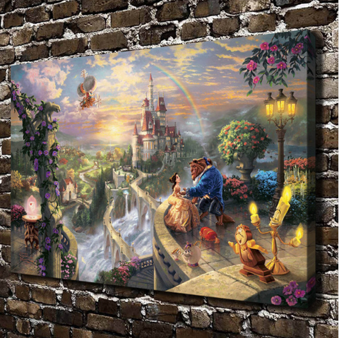 Thomas Kinkade Beauty and the Beast Painting
