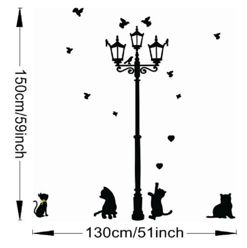 Little Cat under Street Lamp Wall Sticker