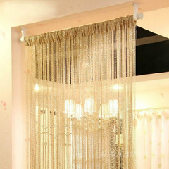 Silver Silk Partition Sheer Curtain