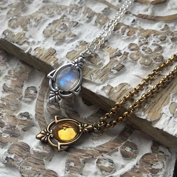 antique citrine and moonstone necklace
