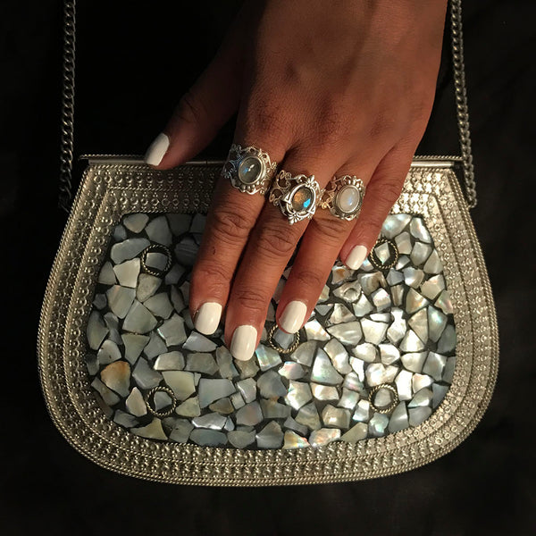 antique pearl clutch