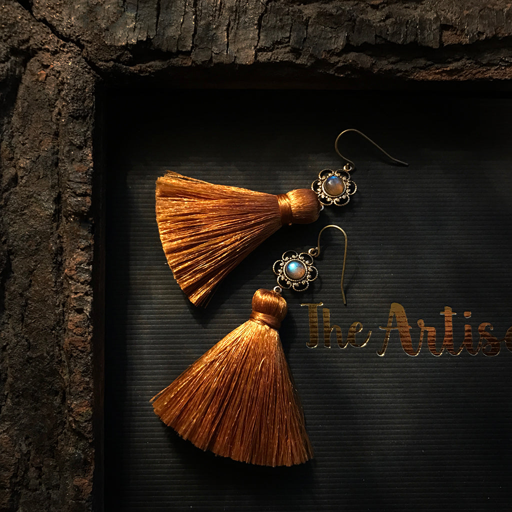golden honey silk tassel earrings