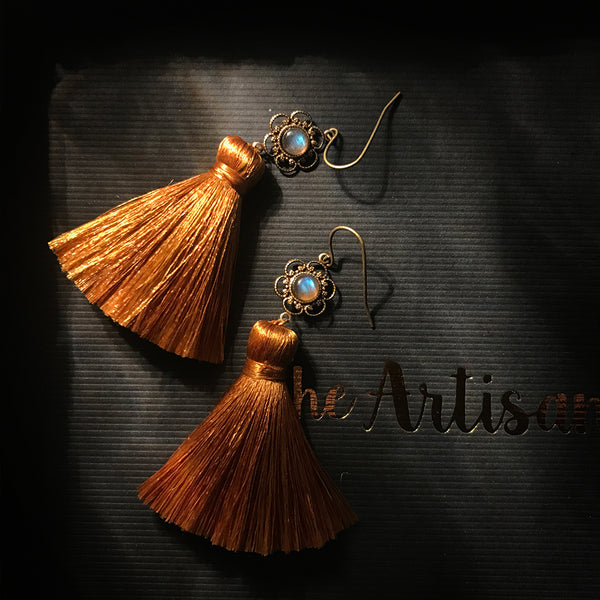 brass gemstone tassel earrings