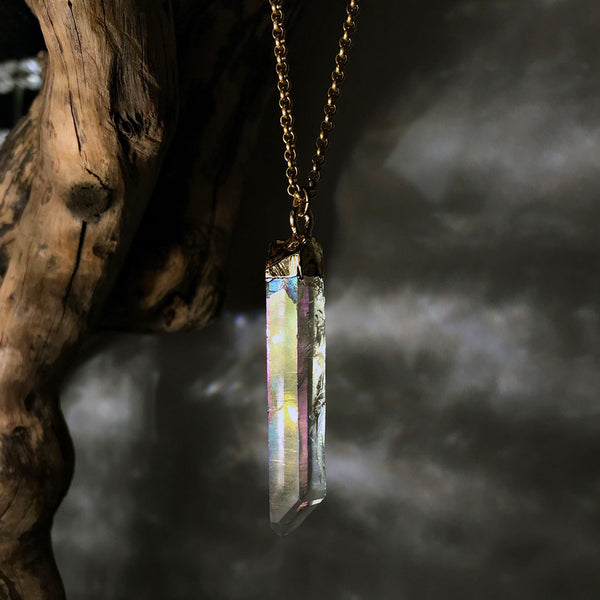 raw angel aura necklace