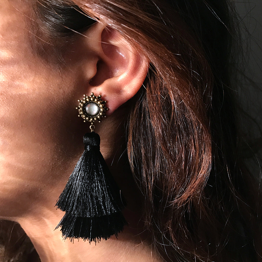 antique black tassel earrings
