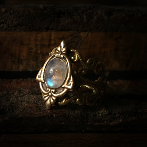 aria brass moonstone ring