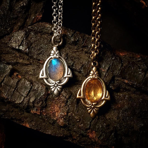 citrine and labradorite neckace