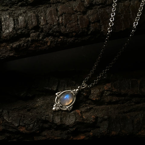 aria silver rainbow moonstone necklace