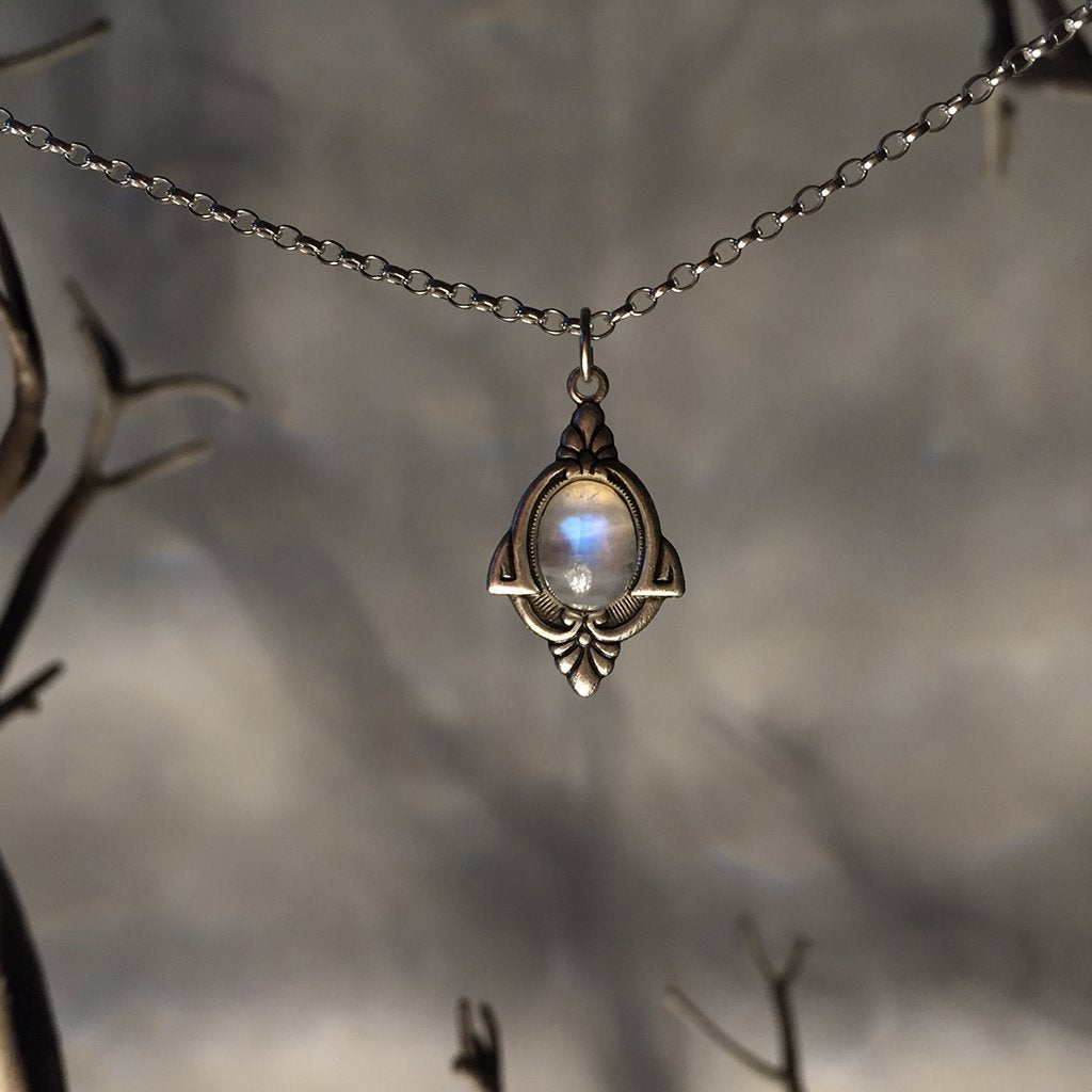 products silver necklace moonstone antique artisan the pendant tribe aria rainbow