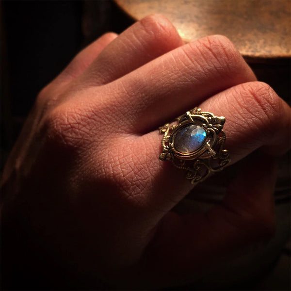 brass labradorite ring