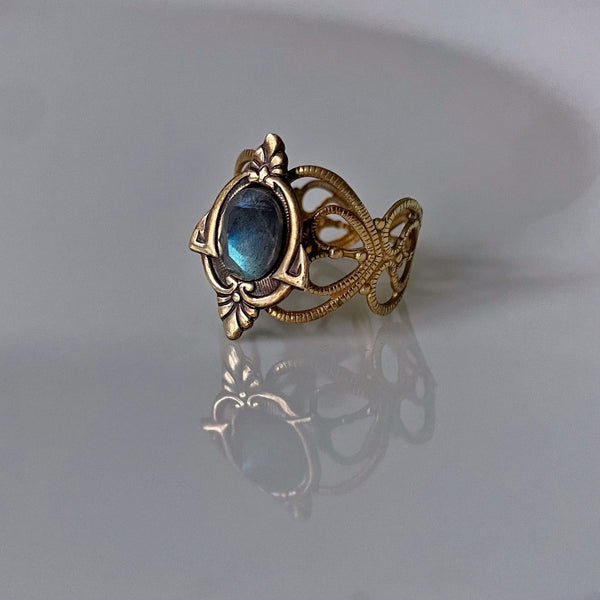 aria labradorite brass ring