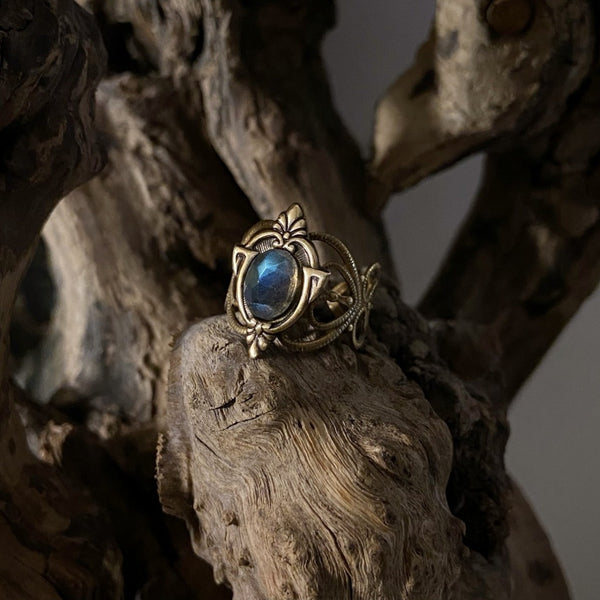 antique gold labradorite ring